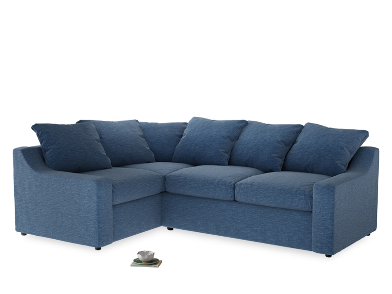 Large Left Hand Cloud Corner Sofa in Hague Blue cotton mix