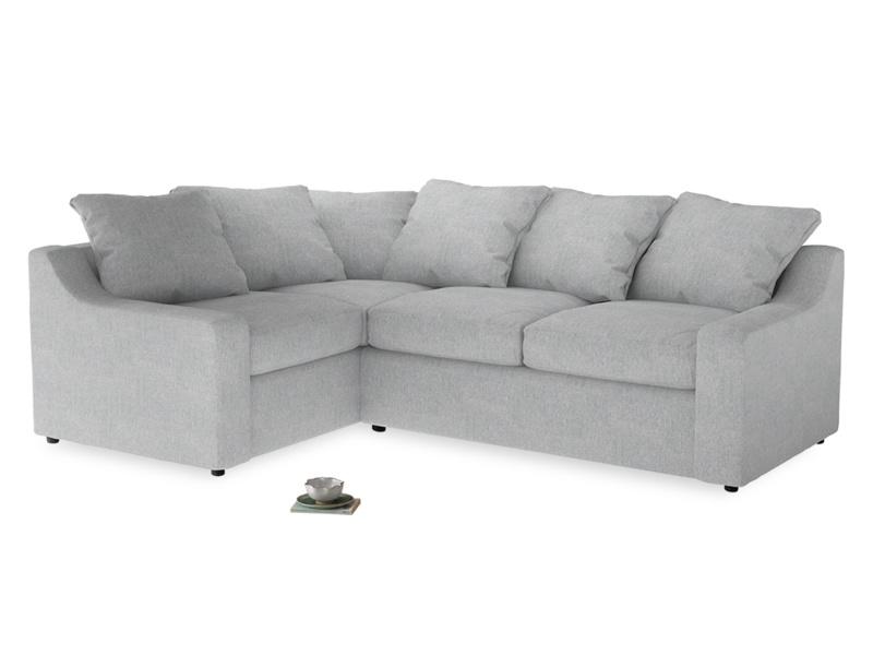 Large Left Hand Cloud Corner Sofa in Pebble vintage linen