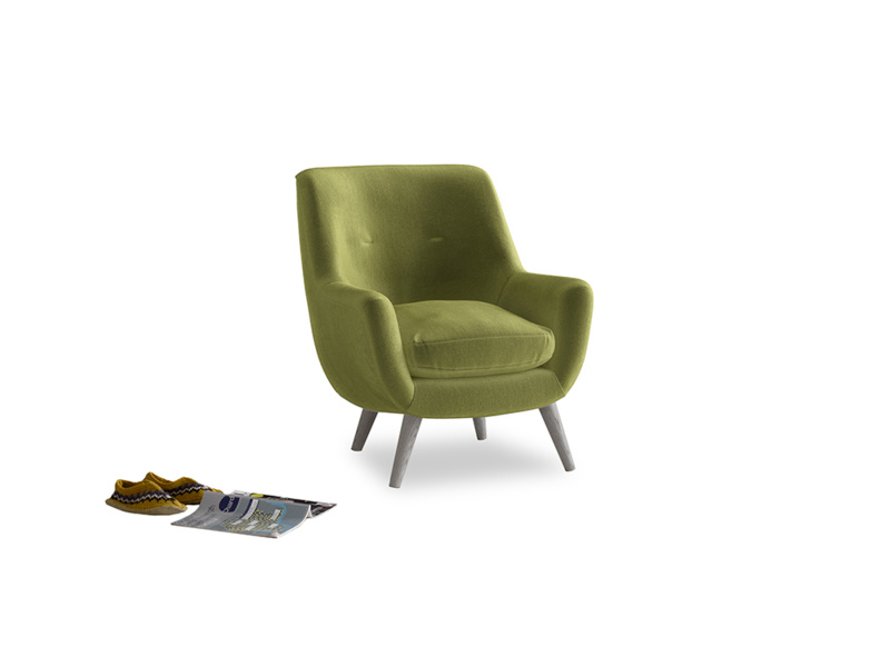 Berlin Armchair in Olive plush velvet