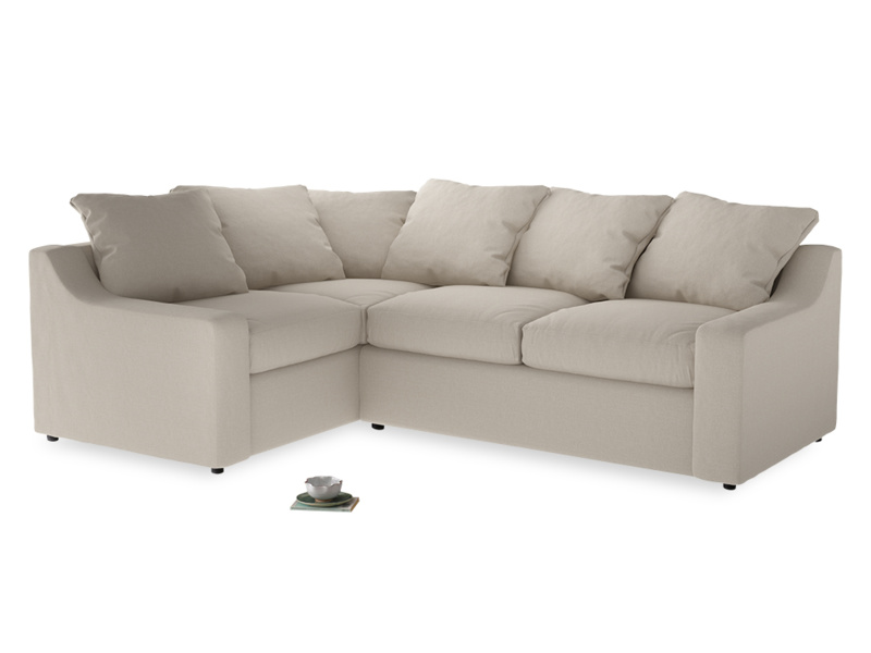 Large Left Hand Cloud Corner Sofa in Buff brushed cotton