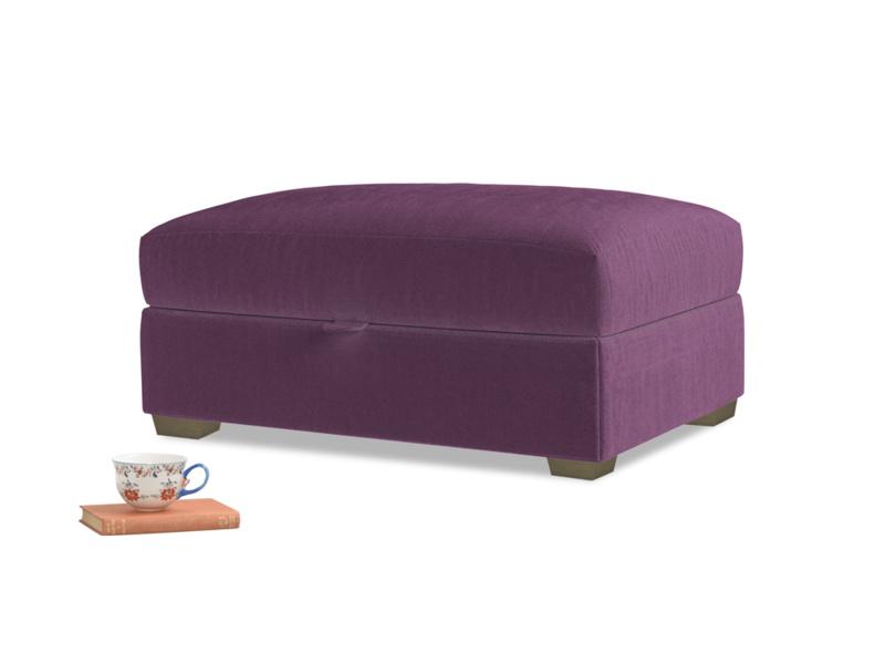 Bumper Storage Footstool in Grape clever velvet