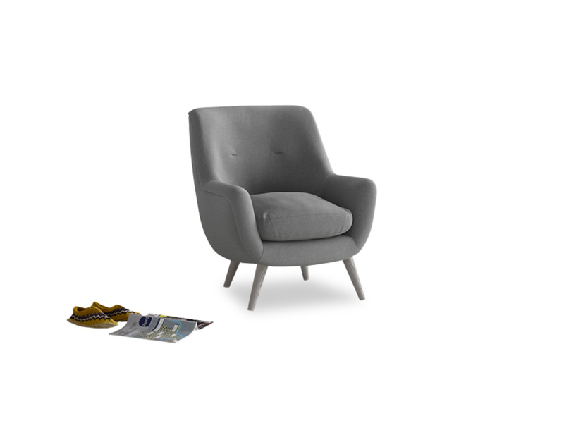 Berlin Armchair in Gun Metal brushed cotton
