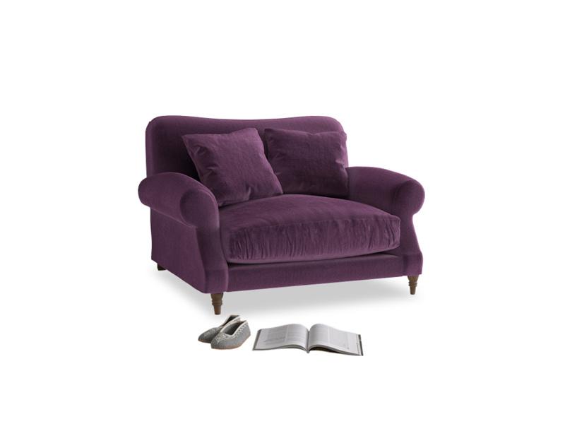 Crumpet Love seat in Grape clever velvet