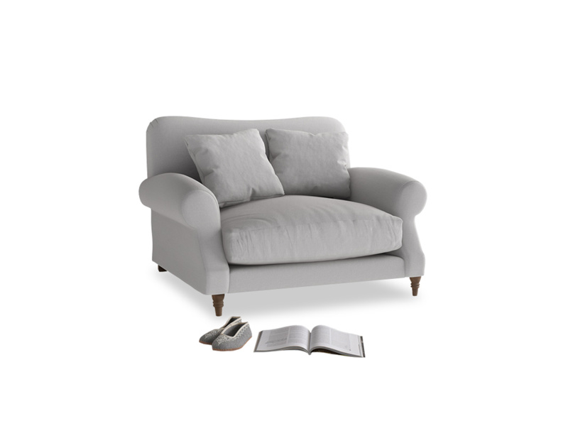Crumpet Love seat in Flint brushed cotton