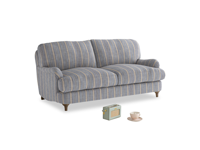 Small Jonesy Sofa in Brittany Blue french stripe