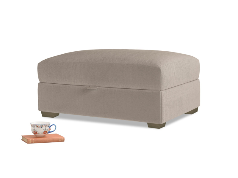 Bumper Storage Footstool in Fawn clever velvet