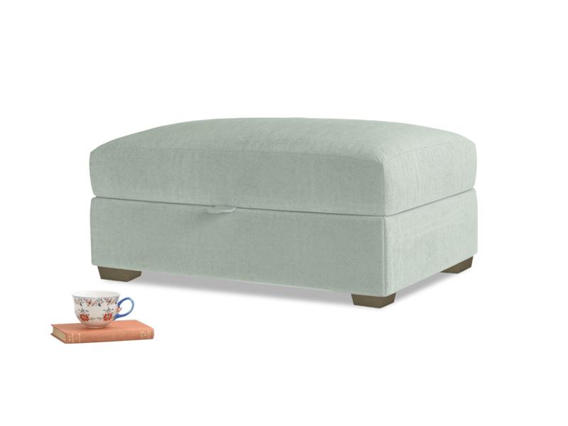 Bumper Storage Footstool in Mint clever velvet