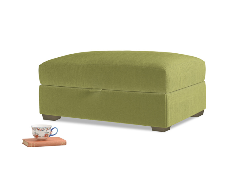 Bumper Storage Footstool in Olive plush velvet