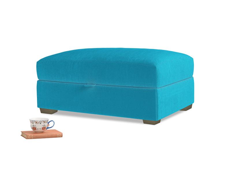 Bumper Storage Footstool in Azure plush velvet