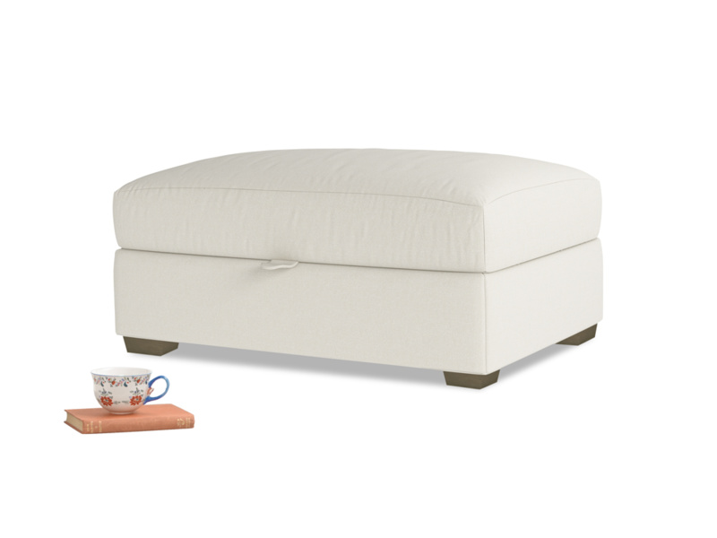 Bumper Storage Footstool in Oat brushed cotton