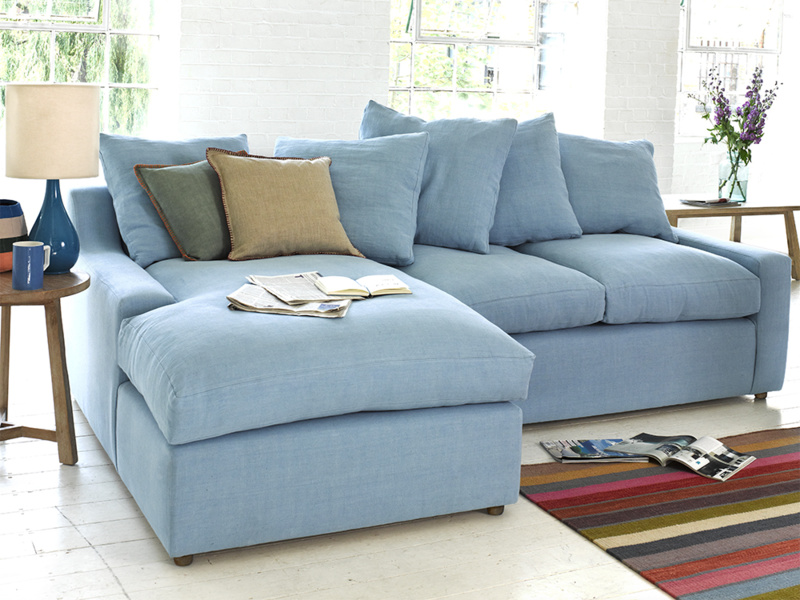 Large Left Hand Cloud Chaise Sofa In Thatch House Fabric