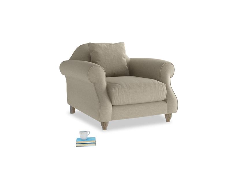 Sloucher Armchair in Jute vintage linen