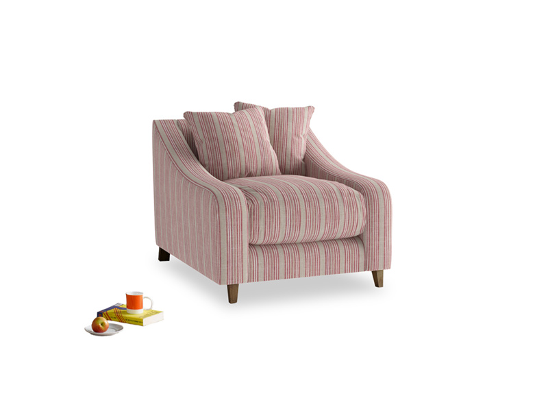 Oscar Armchair in Red french stripe