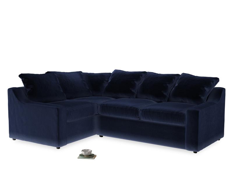 Large Left Hand Cloud Corner Sofa in Midnight plush velvet