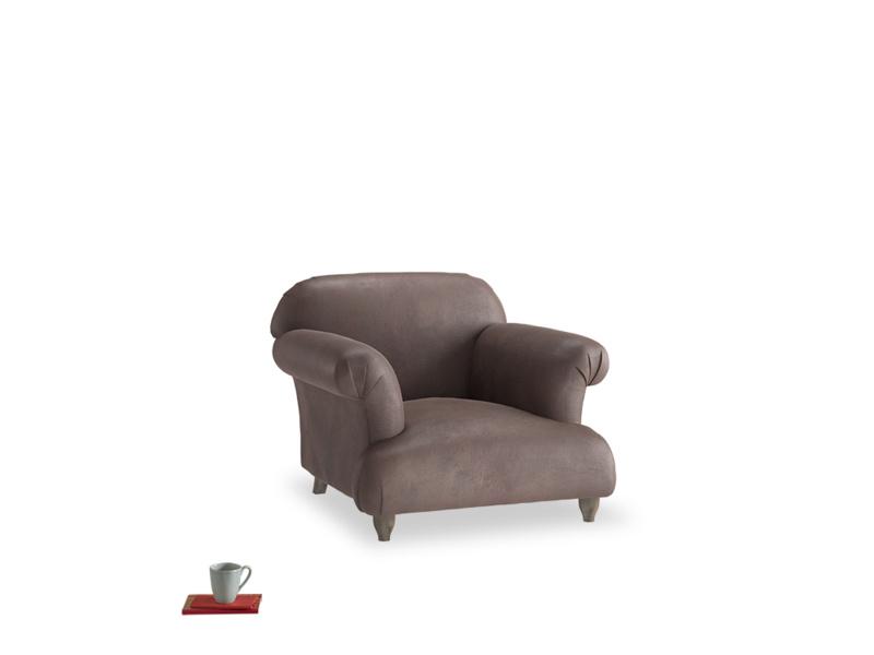 Soufflé Armchair in Dark Chocolate beaten leather