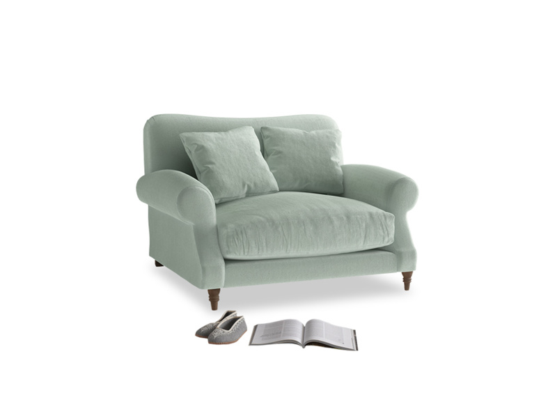 Crumpet Love seat in Mint clever velvet