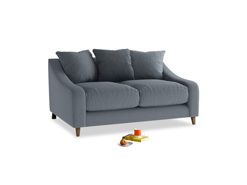 Small Oscar Sofa in Blue Storm washed cotton linen