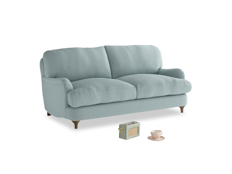 Small Jonesy Sofa in Smoke blue brushed cotton