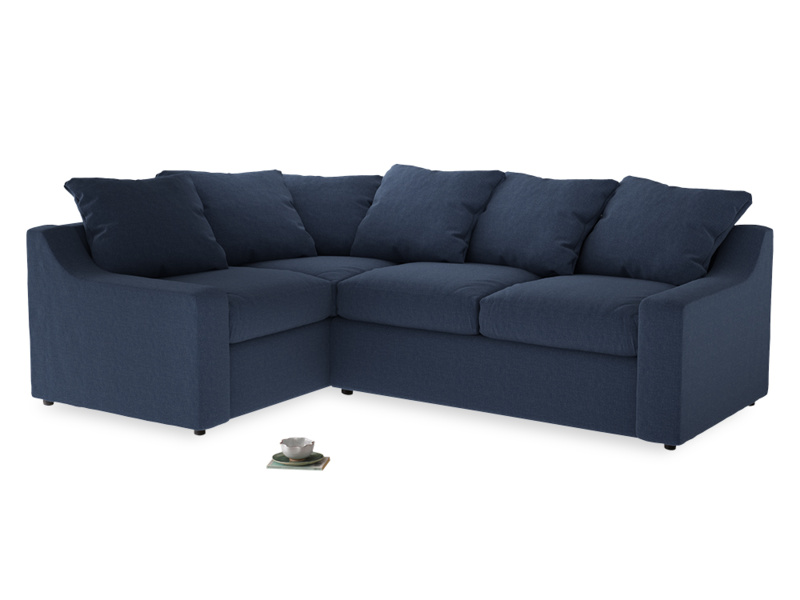 Large Left Hand Cloud Corner Sofa in Navy blue brushed cotton