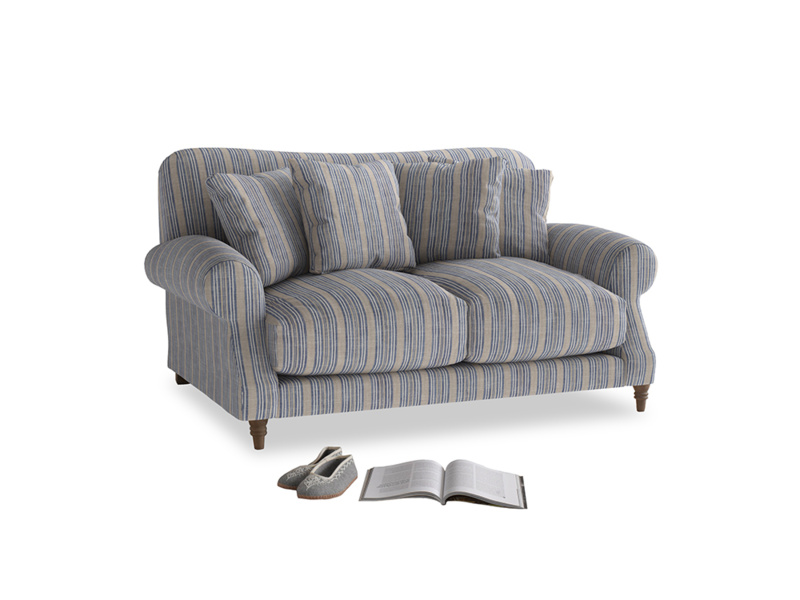 Small Crumpet Sofa in Brittany Blue french stripe
