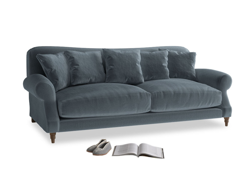 Large Crumpet Sofa in Mermaid plush velvet
