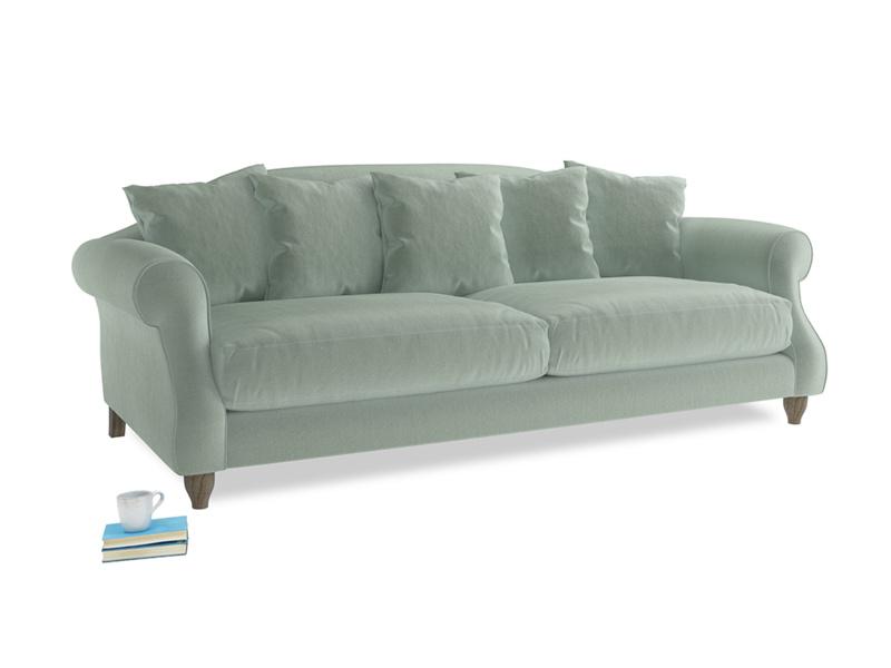 Large Sloucher Sofa in Mint clever velvet