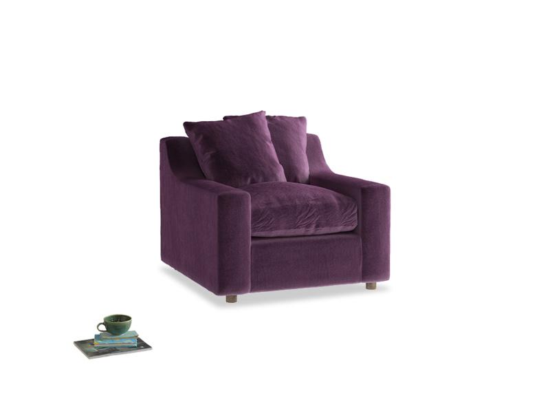 Cloud Armchair in Grape clever velvet