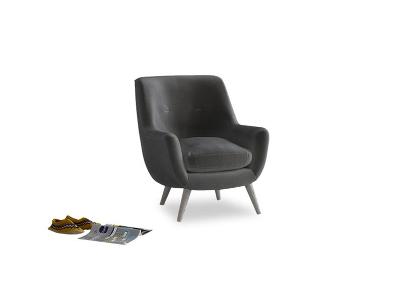 Berlin Armchair in Steel clever velvet