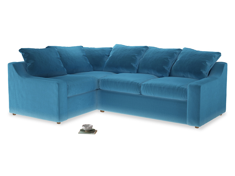 Large Left Hand Cloud Corner Sofa in Teal Blue plush velvet