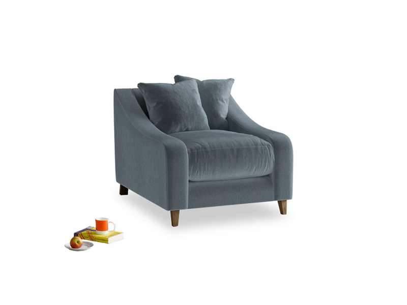 Oscar Armchair in Mermaid plush velvet