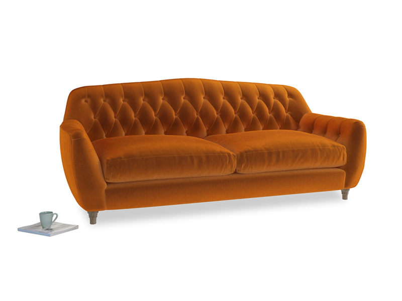 Large Butterbump Sofa in Spiced Orange clever velvet