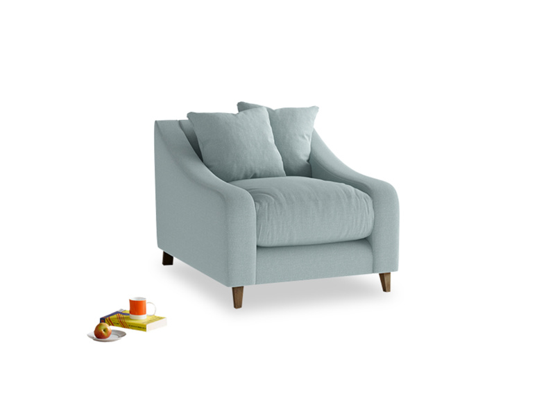 Oscar Armchair in Smoke blue brushed cotton