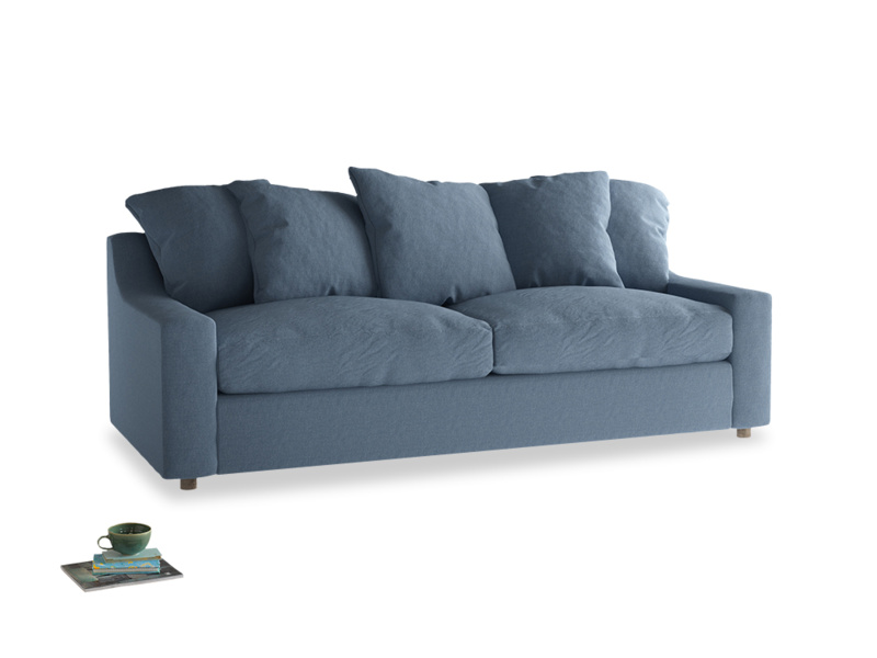 Large Cloud Sofa in Nordic blue brushed cotton