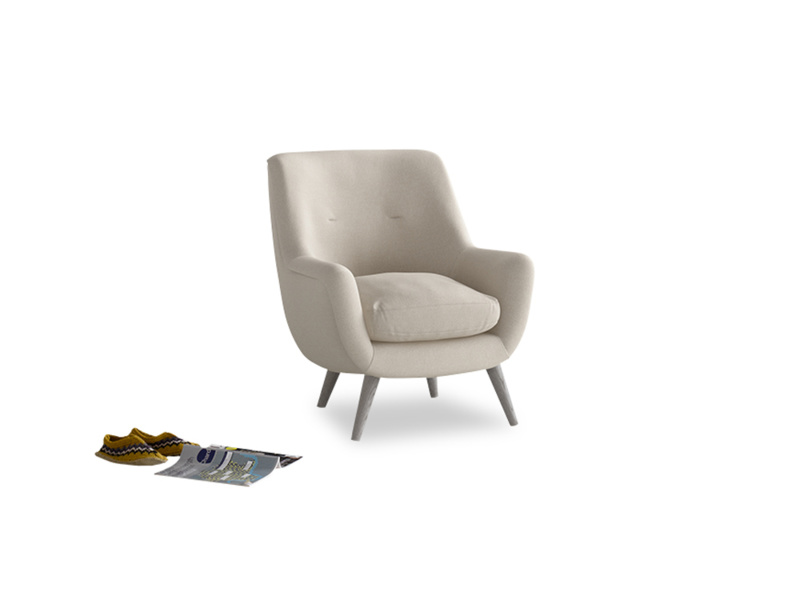 Berlin Armchair in Buff brushed cotton