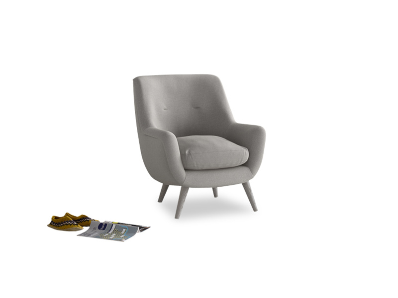 Berlin Armchair in Wolf brushed cotton