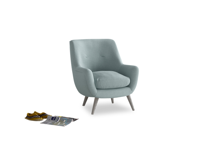 Berlin Armchair in Smoke blue brushed cotton