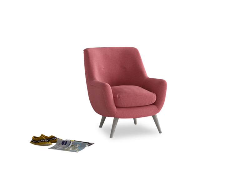 Berlin Armchair in Raspberry brushed cotton