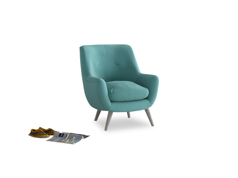 Berlin Armchair in Peacock brushed cotton