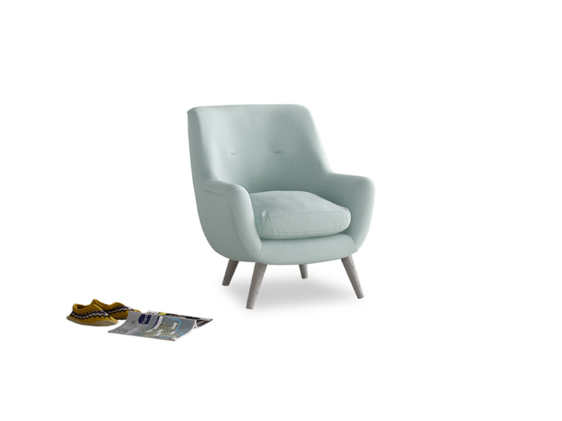 Berlin Armchair in Gull's Egg Brushed Cotton
