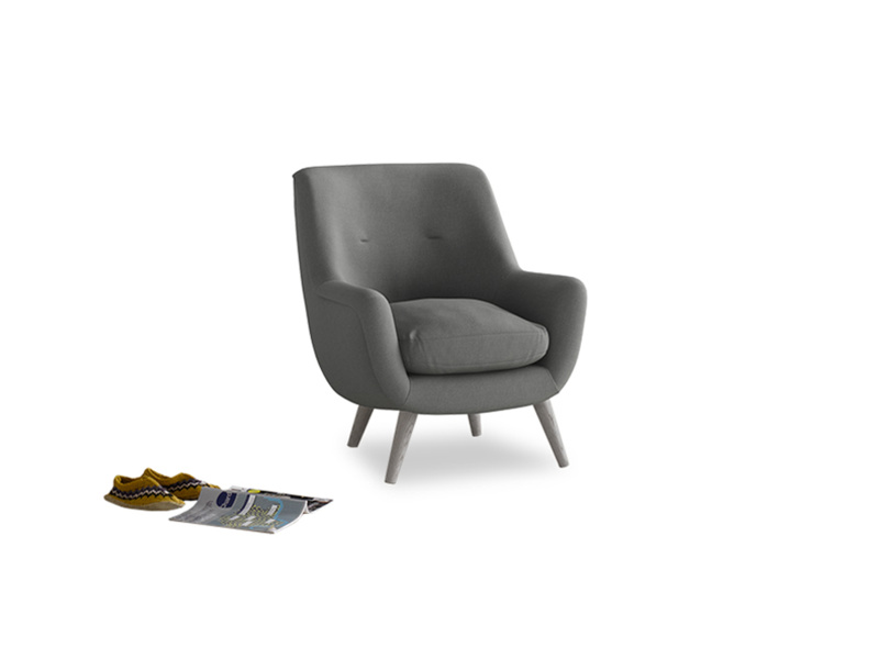 Berlin Armchair in French Grey brushed cotton