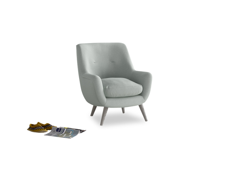 Berlin Armchair in French blue brushed cotton