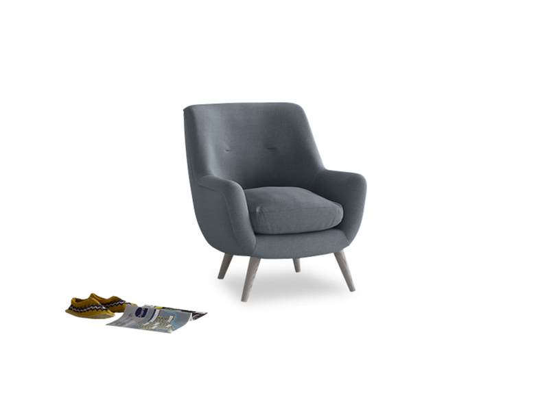 Berlin Armchair in Blue Storm washed cotton linen