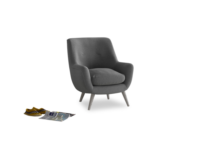 Berlin Armchair in Ash washed cotton linen