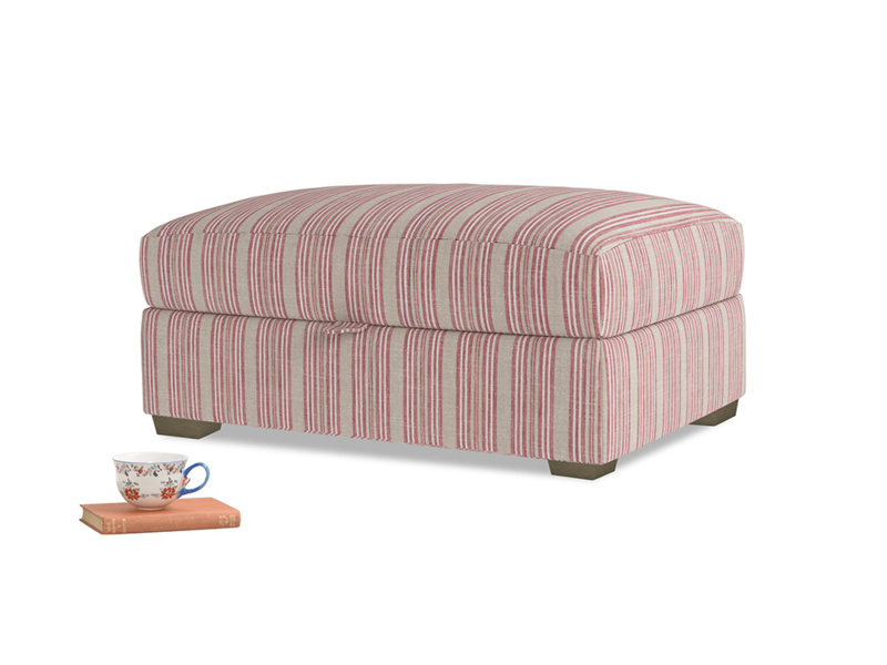 Bumper Storage Footstool in Red french stripe
