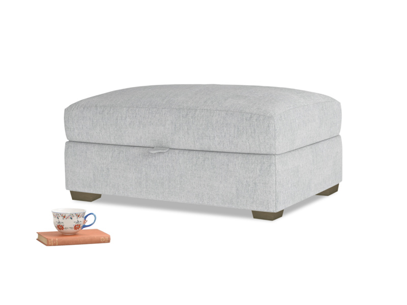 Bumper Storage Footstool in Pebble vintage linen