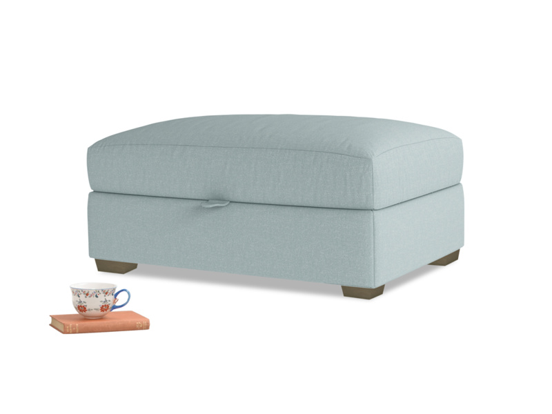 Bumper Storage Footstool in Smoke blue brushed cotton