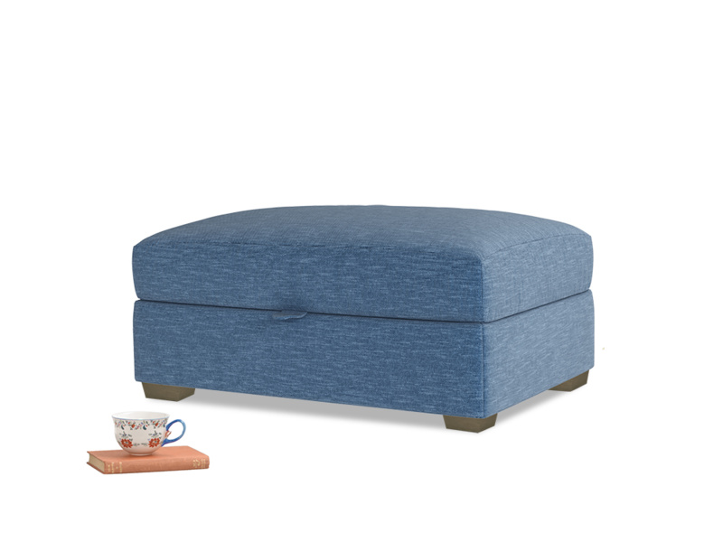 Bumper Storage Footstool in Hague Blue cotton mix