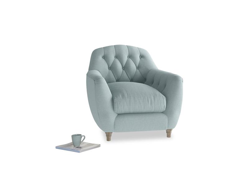 Butterbump Armchair in Smoke blue brushed cotton