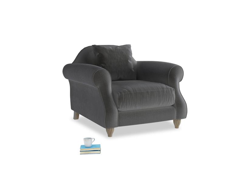 Sloucher Armchair in Steel clever velvet