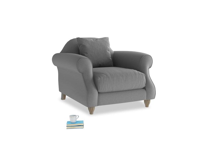 Sloucher Armchair in Gun Metal brushed cotton